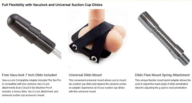 Full Flexibility with Vaculock and Universal Suction Cup Dildos