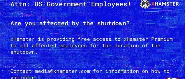 xHamster Grants #Shutdown Gov't Employees Free Access