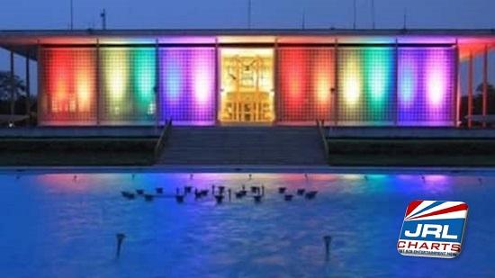 U.S. Embassy Celebrate-PRIDE-Month-Illuminated Rainbow-Flag-Lights