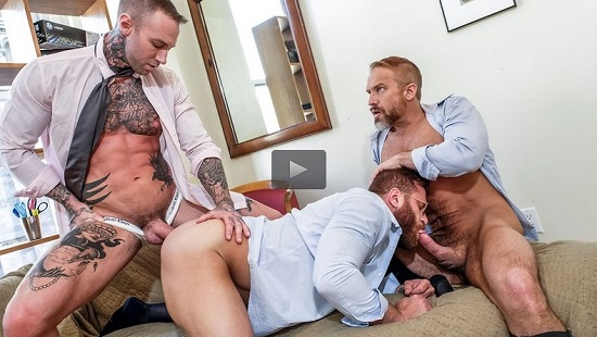 Riley Mitchell Service his Bosses Dylan James and Dirk Caber Bareback-Trailer