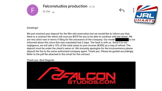 Falcon Studios Scam Alert Scammer Posting