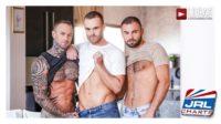 Gay-bareback-Porn-Dylan James and Jeffrey Lloyd Double-Team Jackson Radiz