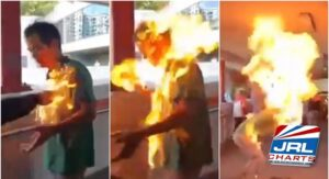 Man Set on Fire by Anti-China protesters