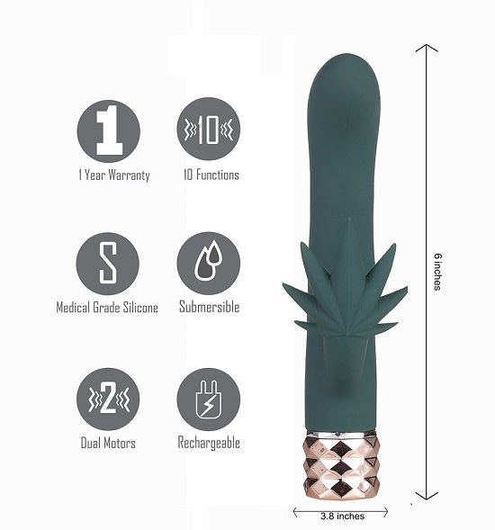Kusha 10 Function Rechargeable Silicone Cannabis Rabbit Vibrator