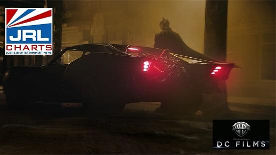 Robert Pattinson in The Batman and Batmobile (2021)