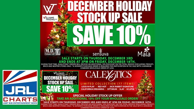 Williams Trading Company Launch 10% Christmas Stock up Sale from CalexoticsⓇ, MAIA Toys, MD Science Labs and Sensuva